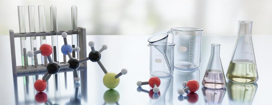 Image of chemistry-Molecular model and beaker, Erlenmeyer flask, test tube