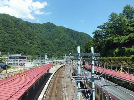 From the connecting passage of Mizukami Station on the JR Joetsu Line in midsummer