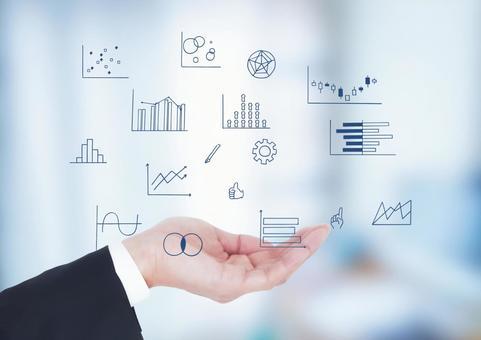 Handwritten graphs and businessmen