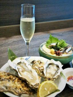 Raw oysters and sparkling wine