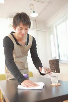 Male working at a cafe 5