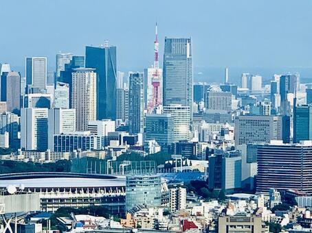 Scenery around Tokyo Tower and New National Stadium