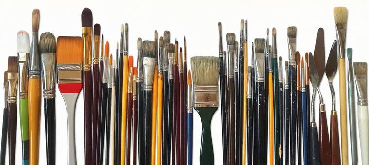 A row of brushes [PSD background transparent] Painting material Brush knife Cutout art Painter Art Paint