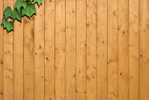 Wood grain plank wall and plants