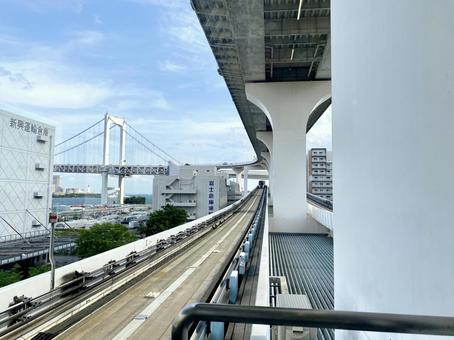 The scenery of Tokyo seen from the Yurikamome
