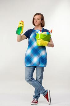 Foreign men of dark blue shirt with a cleaning bucket 8