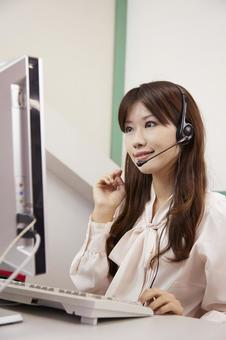 Women working with a headset