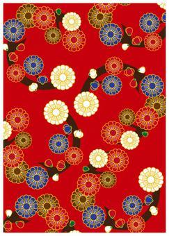 Japanese Pattern Texture Manju Chrysanthemum Red