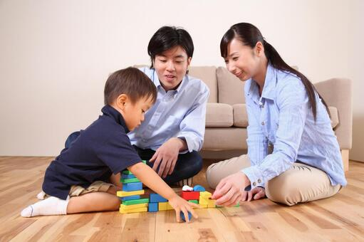 Family playing with blocks 4