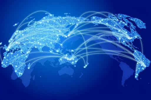 Global digital network image blue background