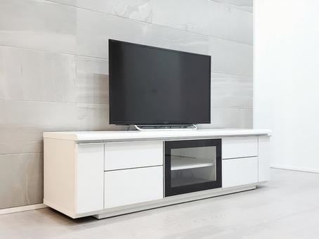 Newly built simple living room TV corner