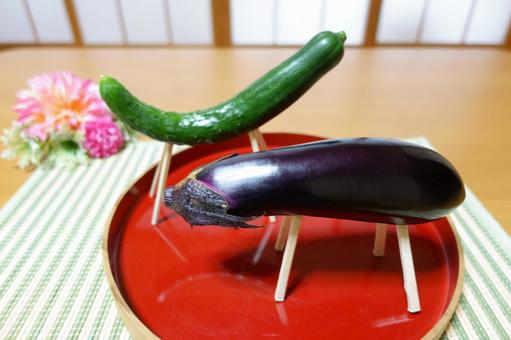 Obon Offering Cucumber Horse and Eggplant Cow Spirit Horse