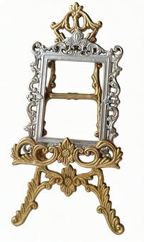 Antique gold silver frame & easel 1 (with cutout pass)