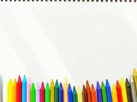 Backgrounds and textures of various color pencils on white drawing paper