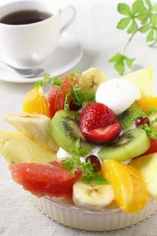 Fruit Bavaroa and coffee