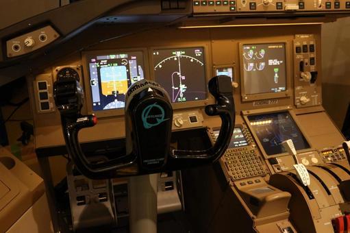 Airplane cockpit Boeing 777