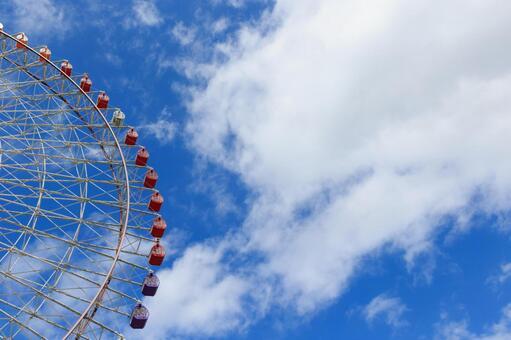 Tempozan Ferris wheel and blue sky