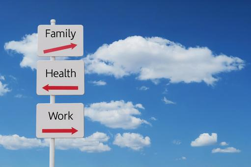 Signs pointing to work-life balance, blue sky and clouds