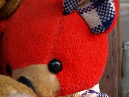 与红色熊毛绒的动物