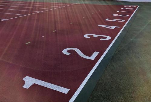 Athletics stadium start line