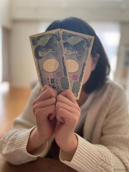 Girl with banknotes