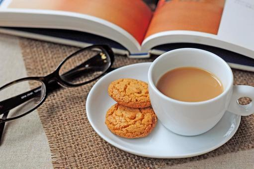 Milk tea and book and glasses 1