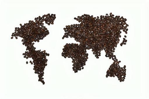 커피 콩 세계지도 흰색 소재