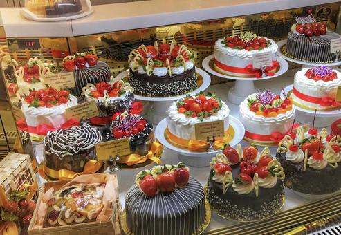 Colorful cake shop overseas