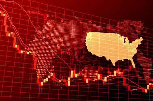美國紅色數字股票圖表圖像