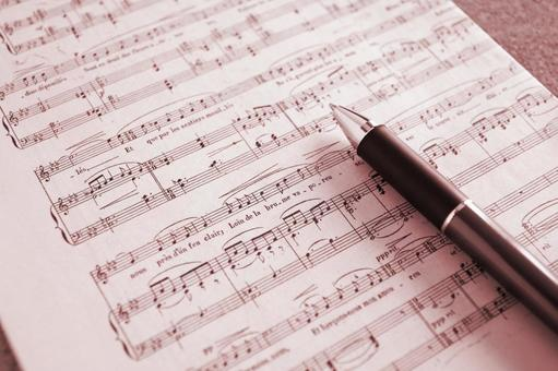 Music score red