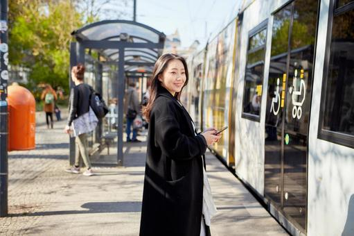 Tram and asian woman 3