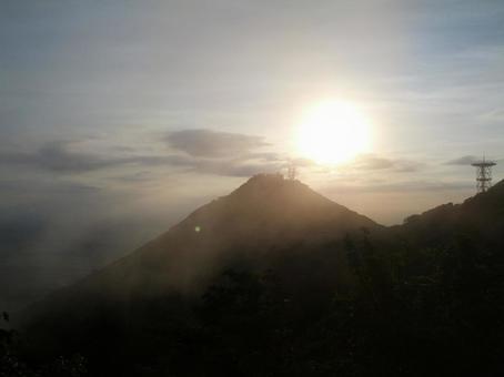 Mount Tsukuba and sunset