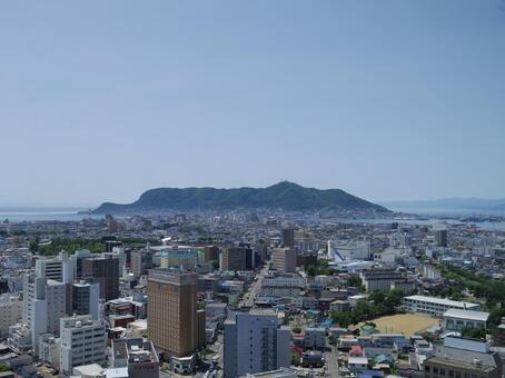 Hakodate city and Mt. Hakodate facing from Goryokaku Tower