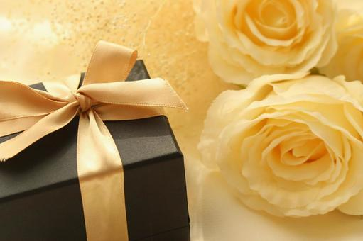 White roses and gifts