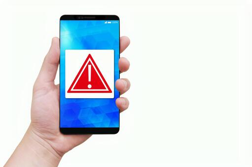 Male hand with warning mark smartphone-white background