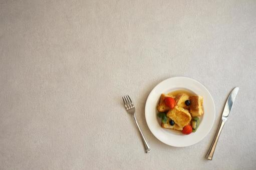 Fruit French Toast Cutlery Diagonal Copy Space White