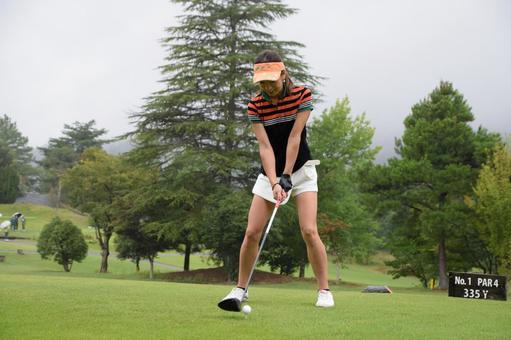 Golf girl address