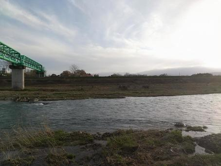 Surikami River where dusk began