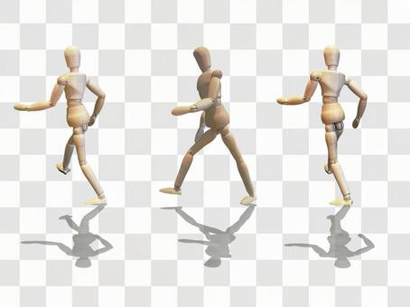 Drawing doll walking pose PSD cropped