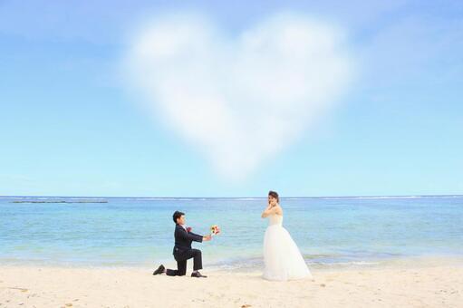 Photo Wedding Proposal under a heart-shaped cloud
