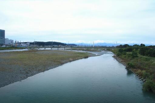Tama River and Keio Line Railway Bridge