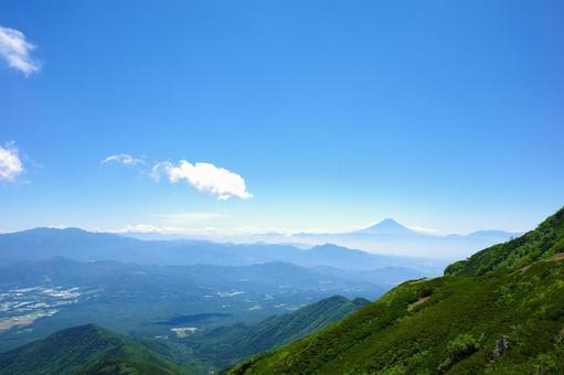 타케 연봉 · 아카 다케에서 보이는 후지산과 전망