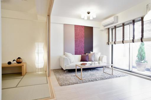 Japanese modern living room with neutralization room