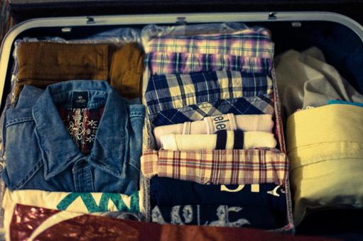 Clothes packed in travel bags