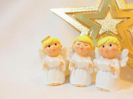 크리스마스 잡화 천사 합창단 (세 줄)