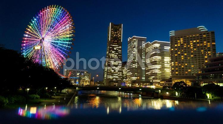 みなとみらいの夜景 女神大橋からの風景の写真
