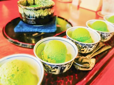 Compare eating green tea ice cream