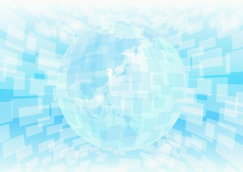 Light blue background of globalization and network technology