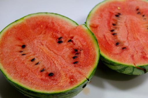 Watermelon cut in half