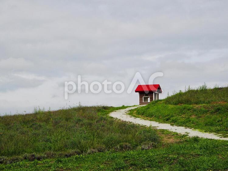 赤い屋根の小屋の写真